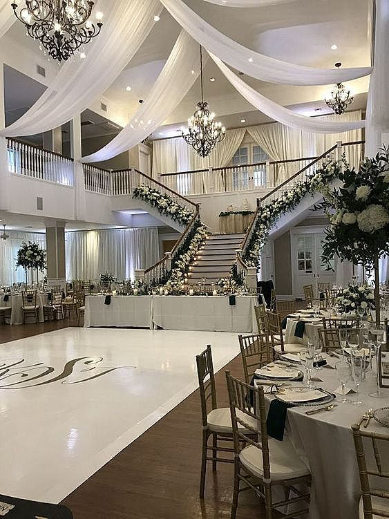 We Say Wow To This Wedding Decor Check Out The Flowers Drapery And Dance Floor Eventplanner Eventdesign Dan Event Venue Design Event Hall Venue Decor