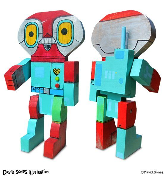 Wooden Robot Art by David Sones @ Pickledog
