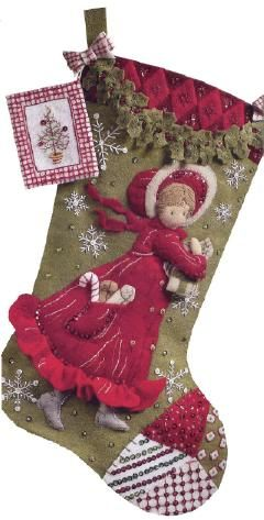 Bucilla Holly Days Felt Stocking Kit ~Oh how I'd love to make this!: