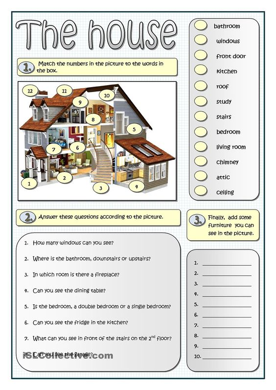 Describing a house esl worksheets of the day pinterest for Describe furniture in your home
