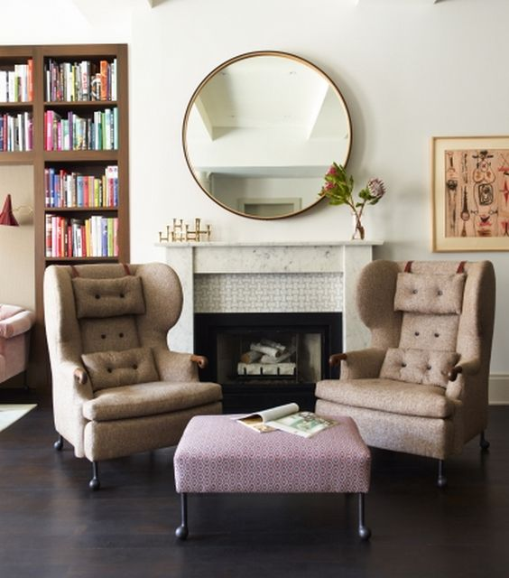 Modern huge round mirror above fireplace fabulous home - How to decorate a mantel with a mirror above it ...