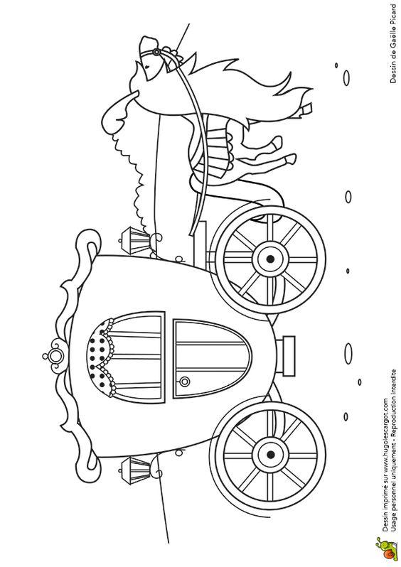 Dessin affichant le beau carrosse de la princesse cendrillon colorier co - Carrosse de princesse ...