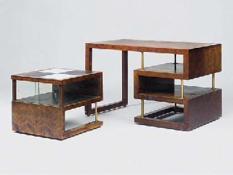 Writing Desk and Occasional Table - Walter Gropius   Bauhaus writing desk with built in shelving, and matching side table.   Bauhaus Furniture: