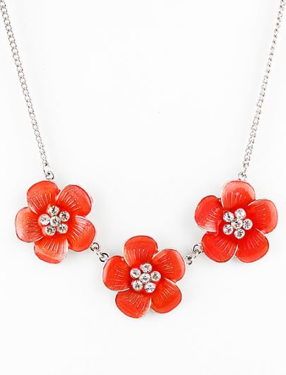 Red Crystal Flowers Necklace #SheInside