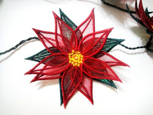 ITH Poinsettia String of Lights Embroidery Article