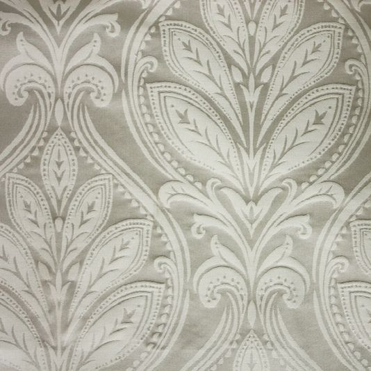 Ryecote Damask Fabric A classic damask fabric with a satin texture in cream on stone.