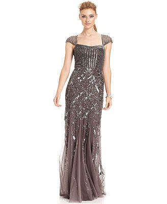 Adrianna Papell Cap-Sleeve Sequined Gown? Dow e think I could wear ...