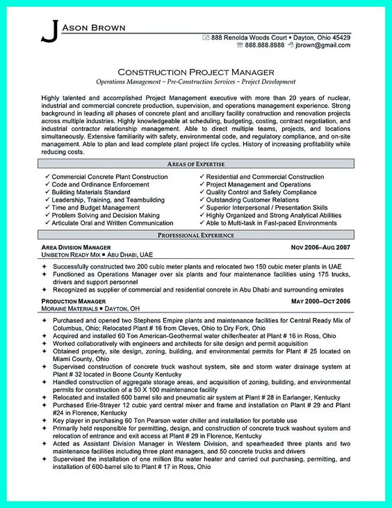 awesome Simple Construction Superintendent Resume Example to Get - construction project manager job description