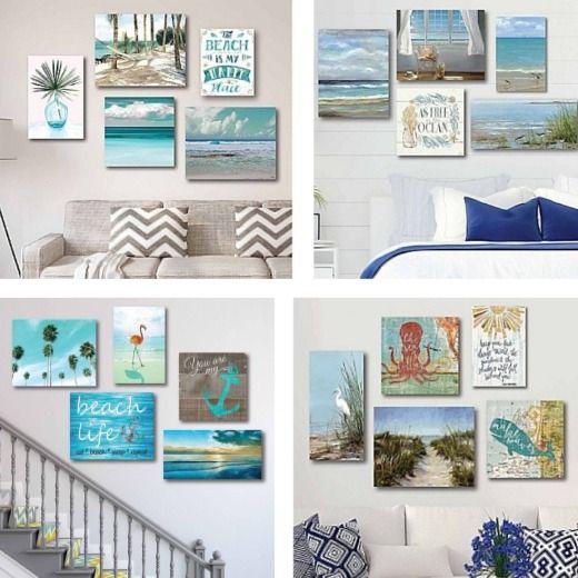 Decorative Coastal Wall Art Sets Beach Theme Wall Decor Beach Cottage Style Beach House Decor Wall art for beach house