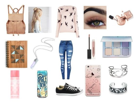 """""""Journal time.~"""" by bruise-my-bones on Polyvore featuring Oasis, WithChic, Converse, Burberry, Anastasia Beverly Hills, Urban Originals, Kit Heath, Bling Jewelry and Victoria's Secret PINK"""