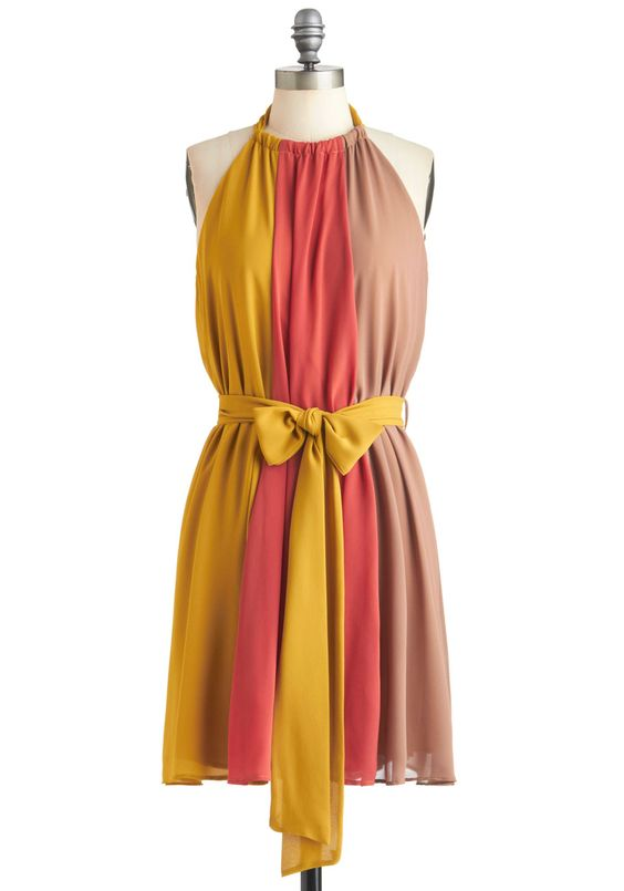 A Much Needed Triple Dress - Yellow, Color Block, Vintage Inspired, Sleeveless, Fall, Mid-length, Multi, Pink, Brown, Belted, Party, Tent / Trapeze