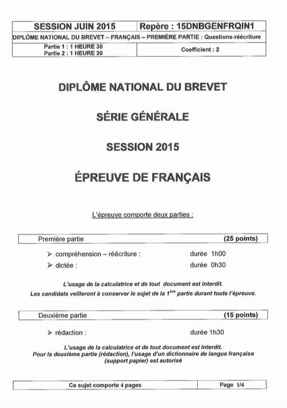 Sujet du Brevet 2015 de Français de Pondichéry