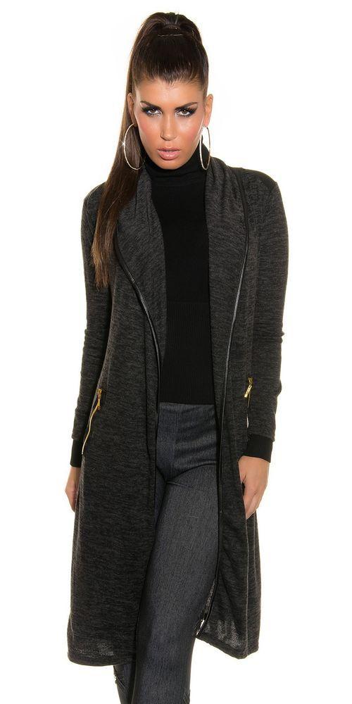 Neu Lang Long Cardigan Pullover Strickjacke Sweater Leder Applikationen !6177