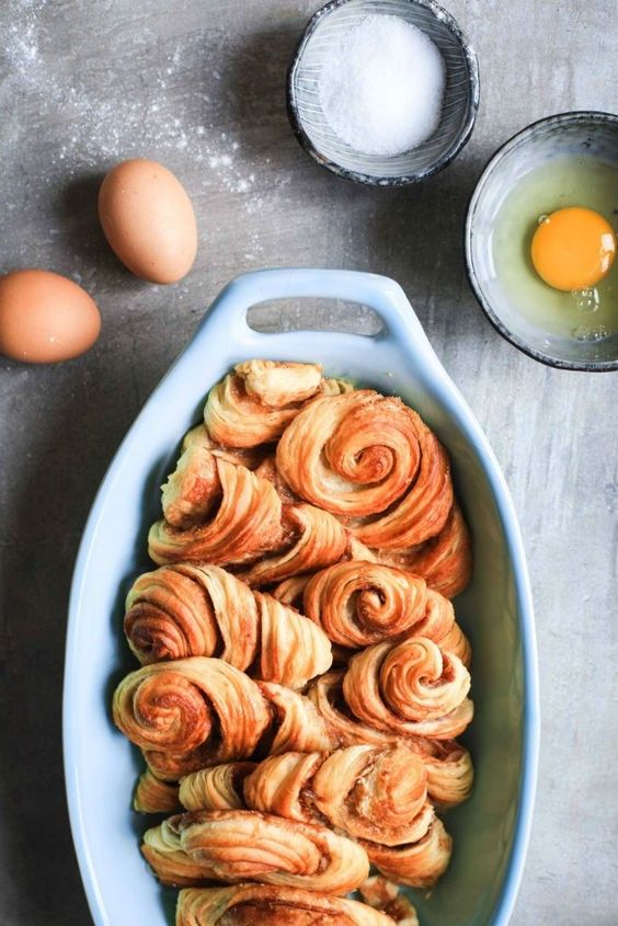 Rezept für Franzbrötchen Bread and Butter Pudding – Arme Ritter oder French Toast aus dem Ofen mal anders