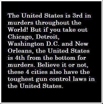 Isn't ironic how the cities that have the most stringent gun control laws in the entire U.S. are the countries with the highest murder rates?