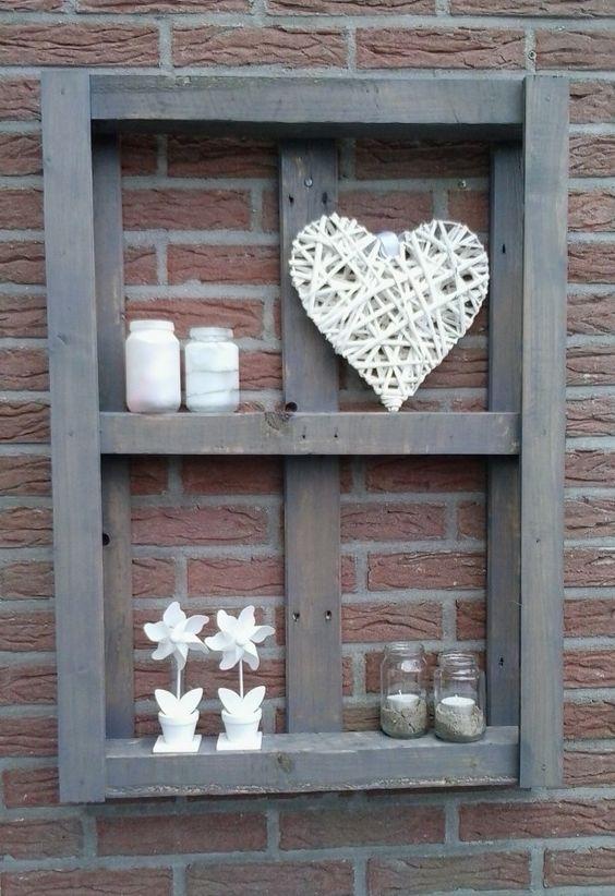 Met wat afval hout een leuke pallet gemaakt tuindecoratie nederland pinterest tuinen - Deco originele muur ...