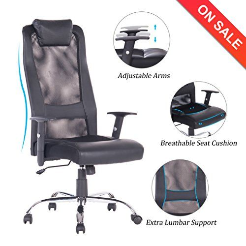 Vanbow High Back Mesh Office Chair Adjustable Arms Ergonomic Computer Desk Task Chair With Padded Leathe Mesh Office Chair Ergonomic Computer Desk Task Chair