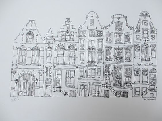 Line Art Building : Amsterdam buildings line drawing drawings and