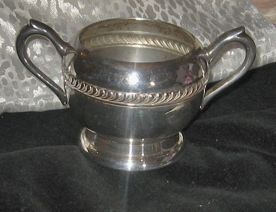F.B. Rogers Silver Co. - Sugar Bowl -   Silver on Copper - Pattern 1202 - Repousse Scroll Work by BodaciousTreasures on Etsy