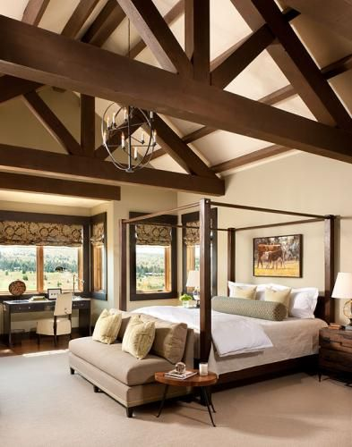Mountain Retreat Beautiful Master Bedroom  #bedroom #modern #highceiling #sleep #bed #master #view