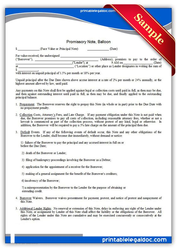 Printable promissory note balloon Template PRINTABLE LEGAL FORMS - sample promissory note