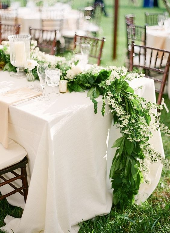 Garlands White flowers and Head tables on Pinterest