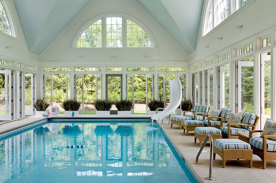Indoor Pool | Pool Slide | French Doors | Home Design | Architecture                                                                                                                                                     More