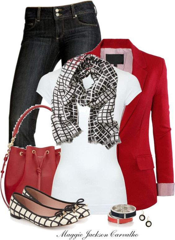 I love this outfit!!! Red and black is my favorite color combo! I love the cute flats, the scarf, and the whole look!: