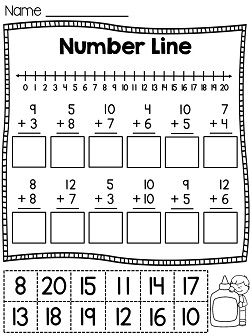 math worksheet : first grade math unit 4 addition to 20  number lines cut and  : Number Line Math Worksheets