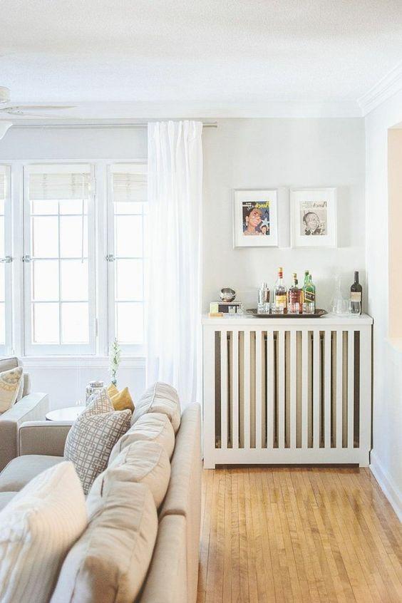 le cacher-radiateur fonte en bois pour le salon