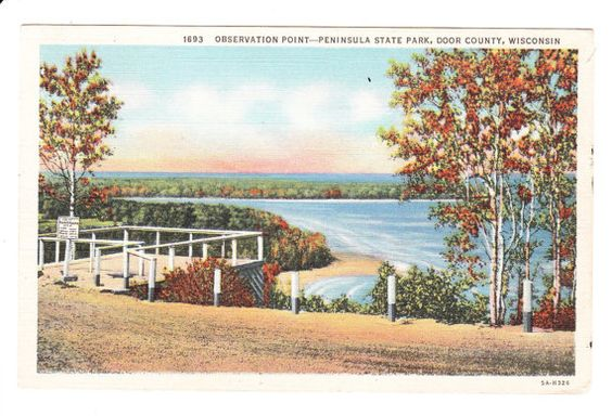Hey, I found this really awesome Etsy listing at https://www.etsy.com/listing/214258357/vintage-door-county-wisconsin-postcard