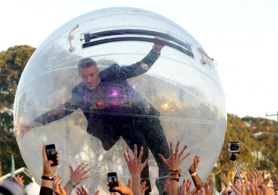 """""""Don't drop me!"""" Diplo of Major Lazer takes crowd surfing to another level during a performance at the Treasure Island Music Festival on Oct. 19 in San Francisco: Sanfrancisco, Treasure Island, Music Festivals, Photo"""