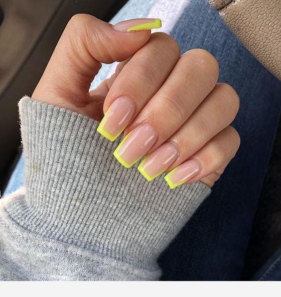 Yellow Tips Pink Nails Instagram Nails Yellow Nails Simple Acrylic Nails