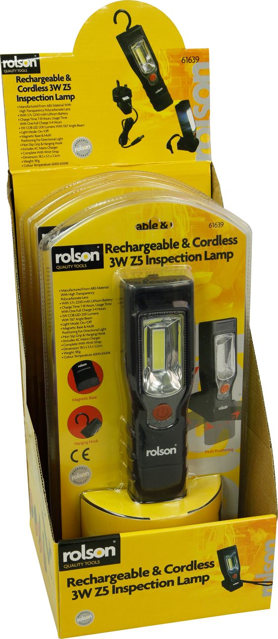 Rolson Stock No:-61639 Description:-Rechargeable & Cordless 3W Z5 Inspection Lamp