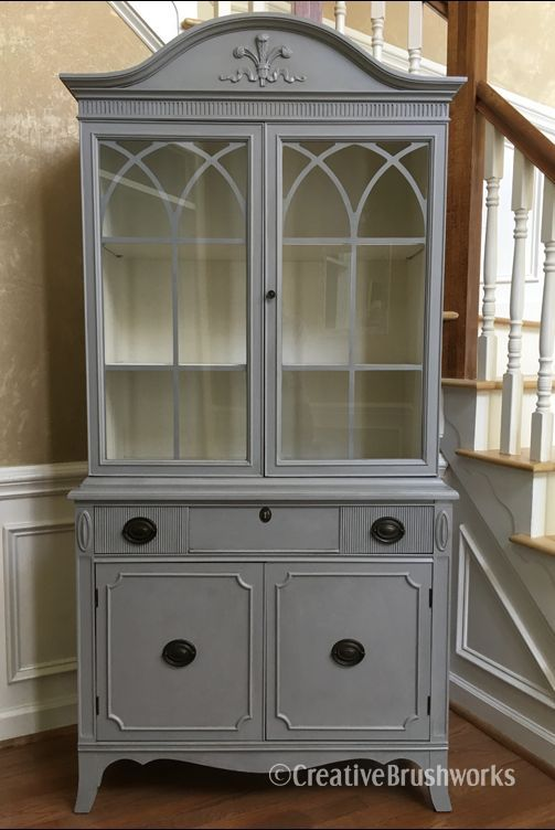 Painted Vintage China Cabinet Paint Couture British Grey With