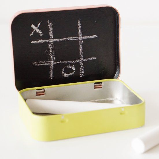 Turn an old mint tin into a portable mini chalkboard.
