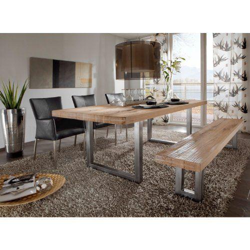 Salesfever mesa de comedor de madera de roble maciza engrasada patas de acero 220 x 100 x 78 - Mesas comedor madera maciza ...