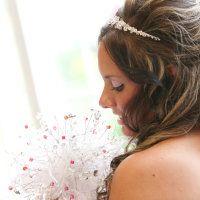 White Feather & Pink Crystal Bouquet!  www.crystalbloomweddings.com Follow us on Instagram: @crystalbloomweddings