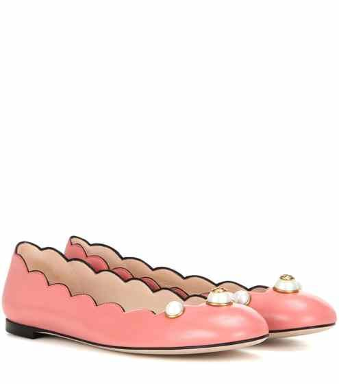 Embellished leather ballerinas | Gucci