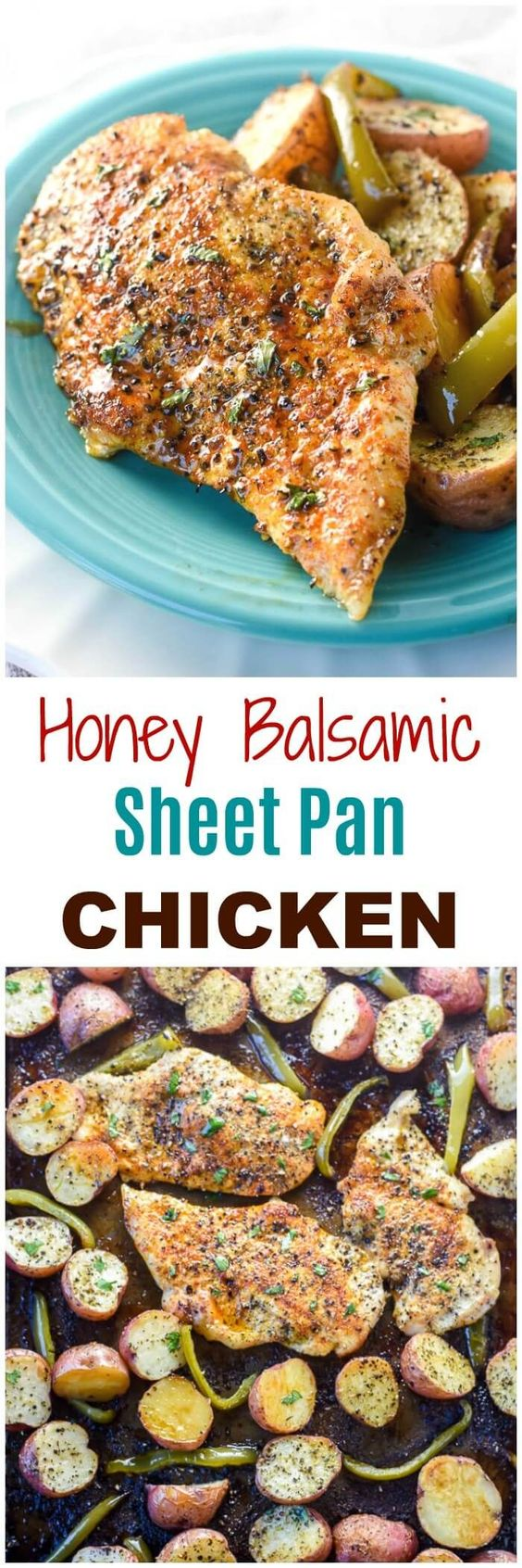 This Honey Balsamic Sheet Pan Chicken allows you to bake an entire chicken dinner on a sheet pan. Easy! Add a delicious Honey Balsamic sauce and you have a winner chicken dinner! via @flavormosaic