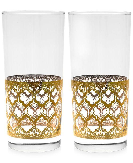 Valencia Gold 22k Highball Glasses, Set of 2