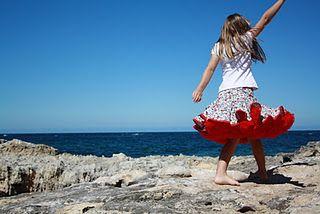 Red Pettiskirt  The twirly skirt has a bias binding hem