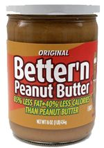 """ThinQuick.com ~ Most of us have a love-hate relationship with peanut butter. We love its creamy deliciousness, but hate that it's so high in fat and calories — even reduced fat peanut butter is still fairly high in both (not to mention packed with added sugar to replace the lost flavor). So when KT spotted """"Better'n Peanut Butter,"""" she decided to try because it's only 100 calories and 2 grams of fat for TWO TABLEspoons."""