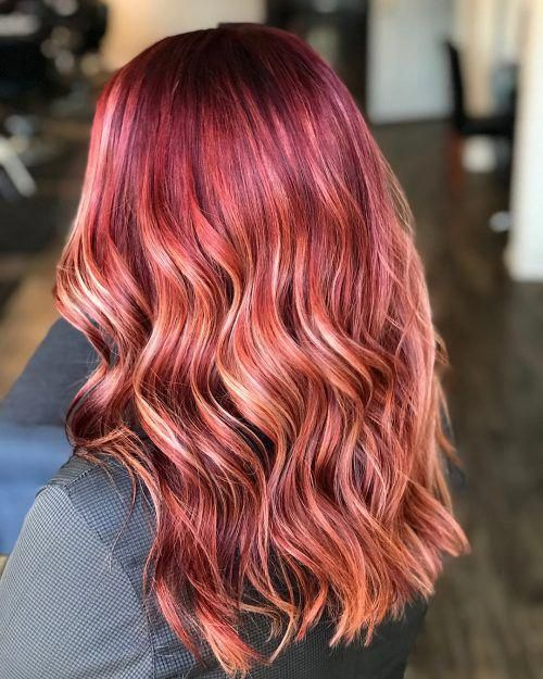 Crimson Red Hair With Blonde Highlights Redhair Red Blonde Hair Red Hair With Blonde Highlights Blonde Highlights
