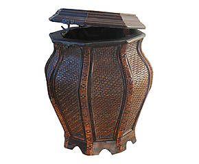 Vaso contenitore in legno effetto tessuto Vienna - h 41 cm