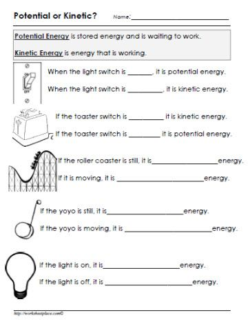 Potential or Kinetic Energy Worksheet | y8 science | Pinterest ...