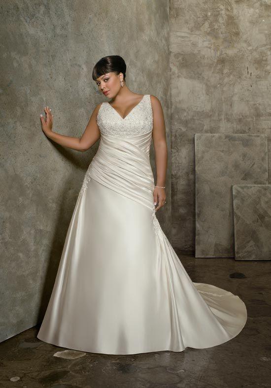 Online Sale 2012 Wholesale V-Neck Appliques Beading Satin Empire Wedding Frocks (PSWD-010)