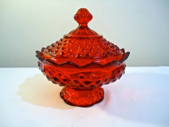 Vintage Fenton Ruby Red Glass Candy Dish