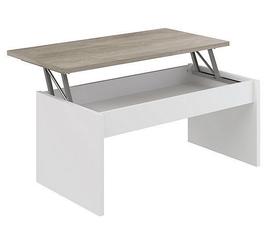Table Basse Plateau Relevable Yana Blanc Et Imitation Chene Table Basse But En 2020 Table Basse Plateau Table Basse Mobilier De Cuisine
