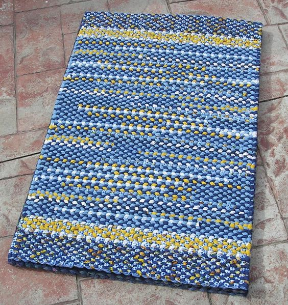 Handmade Twined Rug Blue Yellow And White Woven Cotton Mat Kitchen Bedroo
